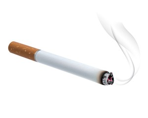 lit cigarette with tobacco smoke