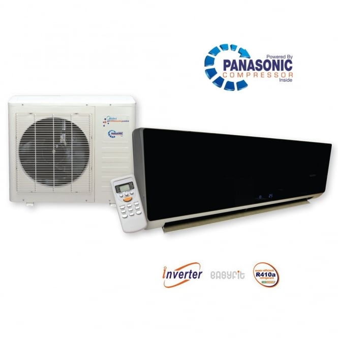 Chigo KFR26 Black Glosss Super Inverter Wall Mounted Heat and Cool Air Conditioner with Panasonic Power