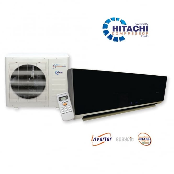 Chigo KFR56 Black Glosss Super Inverter Wall Mounted Heat and Cool Air Conditioner with Hitachi Power